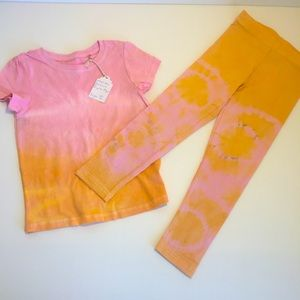 GIRLS SET sz 5-6 Tie Dyed leggings Triple dyed tee